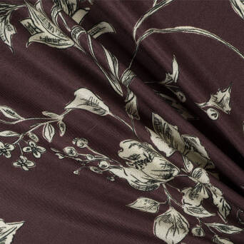 Fabric Viscose PREMIUM EGGPLANT Flowers