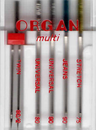 ORGAN -  Nadel MULTI  5 Stk. MIX / Dicke 75, 90.80, 80/2