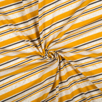 Knitted fabric with linen - MUSTARD STRIPES