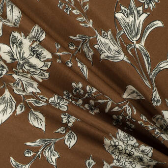 Viscose fabric PREMIUM Dark Caramel Flowers