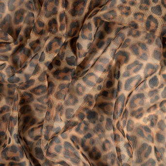 Soft Tulle printed  - LEOPARD BROWN