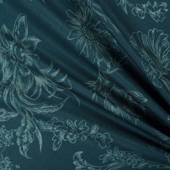 Viscose fabric PREMIUM OCEAN BLUE Flowers