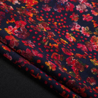 Printed punto fabric RED flovers on NAVY BLUE