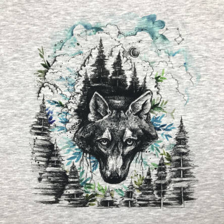 Night Wolf - PANEL - Sommersweat  XL 80 x 80 cm