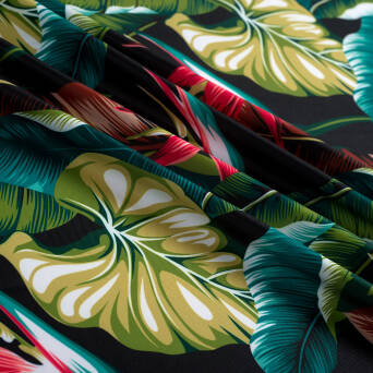 Lycra fabric EXOTIC LEAVES #1161B