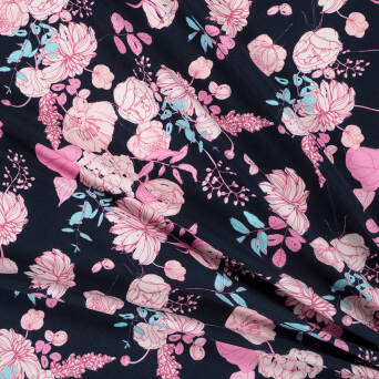 VINTAGE FLOWERS Jersey NAVY 200g