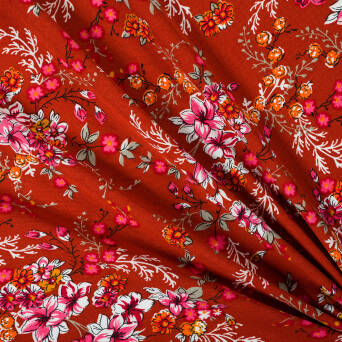 Viscose fabric flowers on red