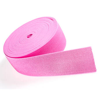 Rubber with metallic thread PINK 50mm
