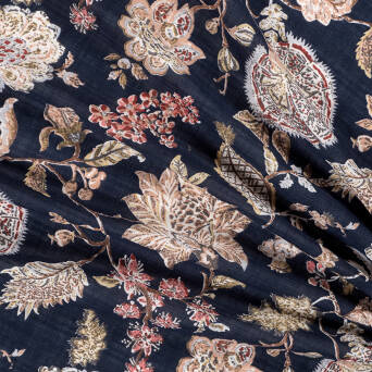 Viscose and cotton fabric ANTIQUE FLOWERS D43#03