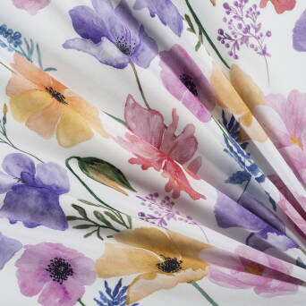 Viscose fabric colorful FLOWERS