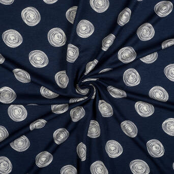 Viscose jersey CIRCLES BEIGE on navy blue