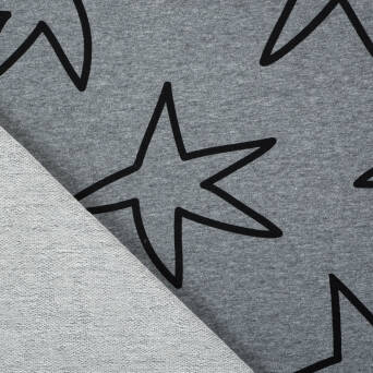 Stars on dark grey melange 40%