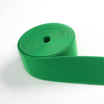 Rubber knitted vertical stripe GREEN 50 mm