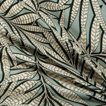 Viscose Crepe Exotic leaves in green