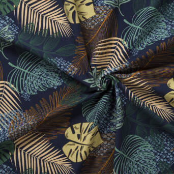 Jungle leafs- Navy Blue jersey 200g
